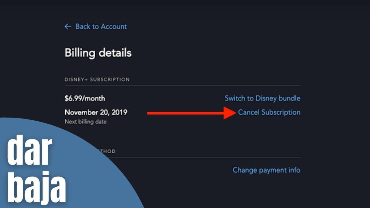 dar de baja Suscripción de Disney Plus